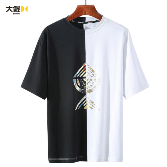Summer New Hot Cotton Fashion Contrast Color Loose Printing Men's T-Shirt