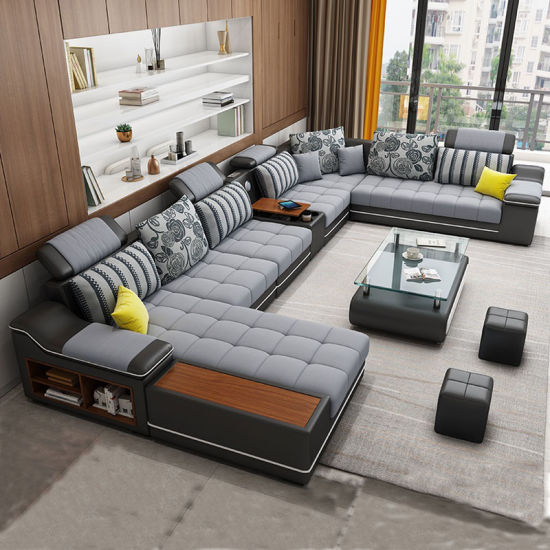 Big Corner Home Villa Hotel Lobby Comfortable Leather Sofa Sofa Set Furniture