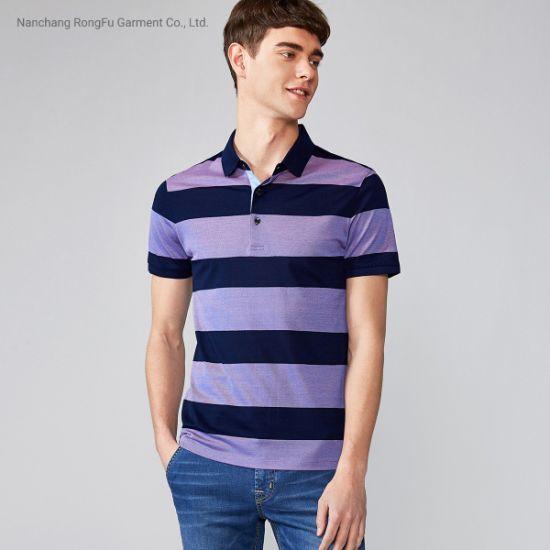Polo Shirt Striped Mercerized Cotton Shirt Men's Short Sleeved T Shirt