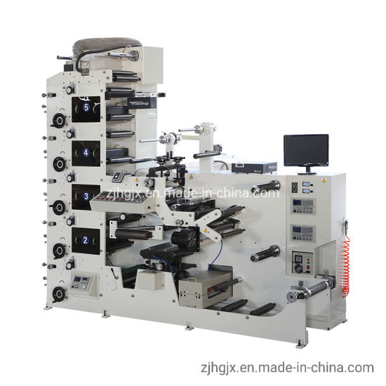 Ry320 Roll to Roll Self-Adhesive Paper Sticker 3 4 5 6 7 8 Color Label Flexo Printing Machine with Rotary Die Cutting Slitting Rewind UV Vanishing