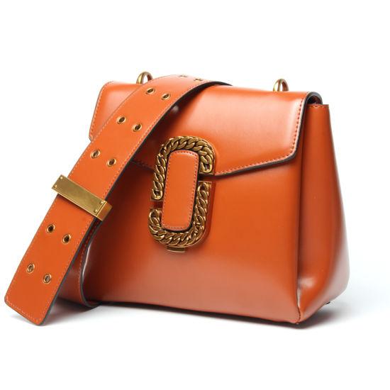 Fashion Leather Ladies Shoulder Handbags with Wide Shoulder Strap