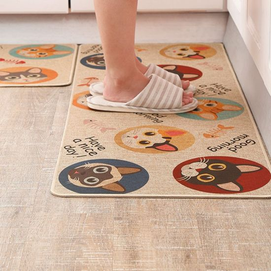 Super Absorbent Custom Printed Hotel Outside Welcome Anti-Slip Linen Fabric Non-Slip Square Front Foot Indoor Clear Kitchen Rubber Door Mat Rug Carpet
