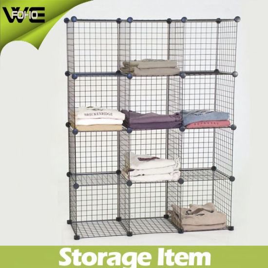 DIY Mesh Storage Shelves Box Cabinet With Wire Metal Material 4mm And 2mm Thickness 3 Cubes 4 5 6cubes 12cubes