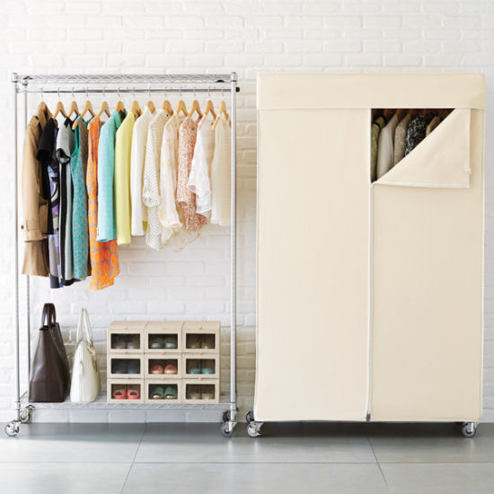 China Bedroom Design Chrome Metal Wardrobe Rack With Non Woven Cover