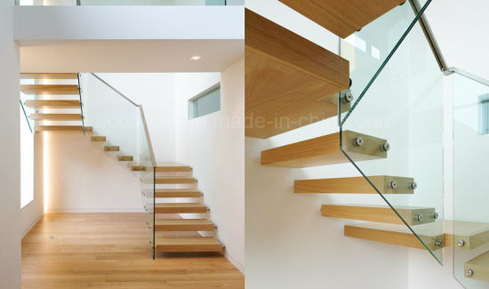 Floating Staircase Design With Oak Wood Tread/Hidden Beam Glass Staircase