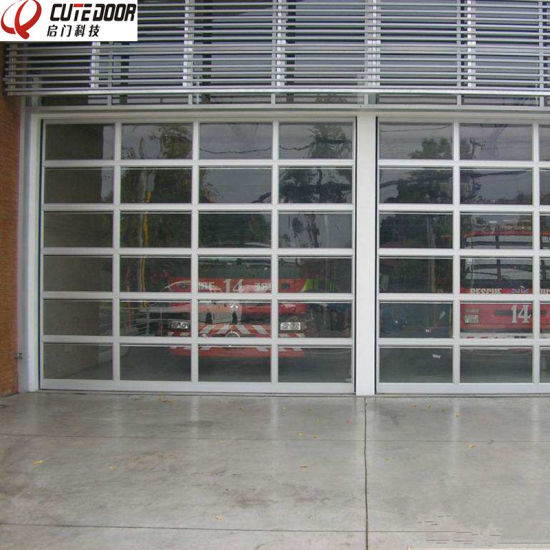 Automatic Aluminum Alloy Tempered Glass Poly Carbonate Frosted Glass Garage  Door