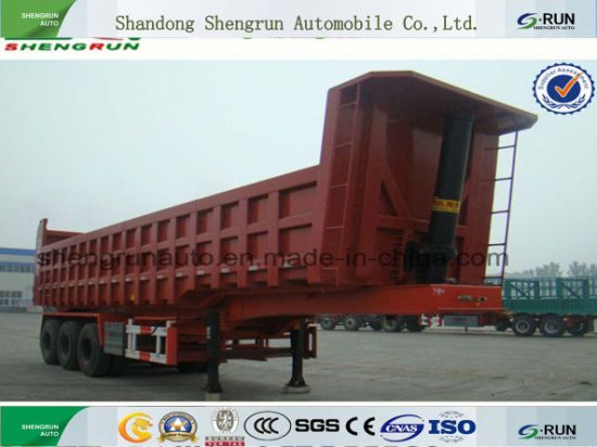 Shengrun Brand New Dump Truck Tipper Semi Trailer with Hydraulic Cylinder pictures & photos