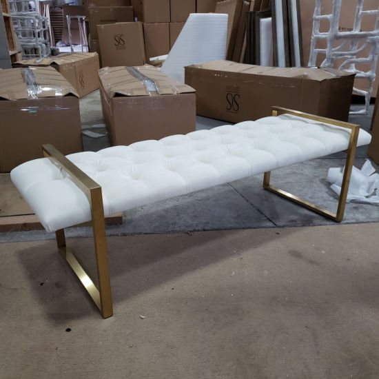 China Contemporary White Bedroom Upholstered Gold Metal End