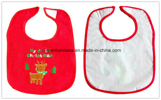 Custom Made Cartoon Logo Embroidered Cotton Terry Red Customzied Promotional Girl′s Baby Bib pictures & photos
