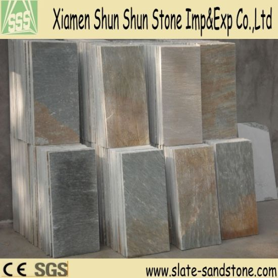 Hot Sell Yellow Slate Stone Veneer Floor Tile pictures & photos