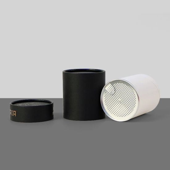 Firstsail New Arrival Food Grade Aluminum Foil Lid Easy Tear Cover Paper Tube Tea Coffee Nuts Round Black Packaging Box
