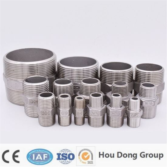 "1/8 ""1/4"" 3/8 ""1/2"" 3/4 ""1"" 1-1 / 4 ""1-1 / 2"" Bsp Male Thread Hexagon Nipple Threaded Pipe Reducer Fitting Stainless Steel 304 Union"