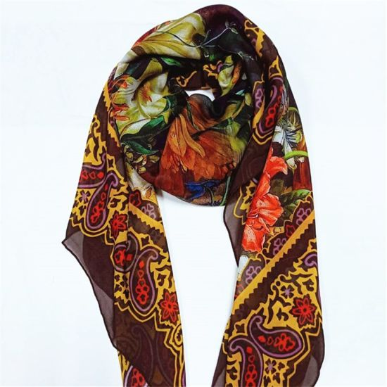 Lightweight Wrap and Shawls Girls Fashion Chiffon Scarves with Hand Roll