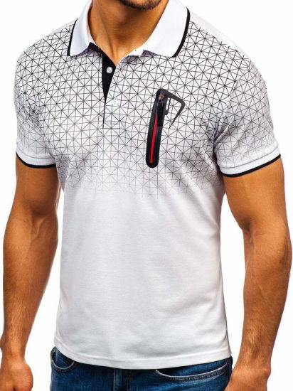Men's Polo Shirt Gradient Printed Fake Pocket Lapel T-Shirt Clothing