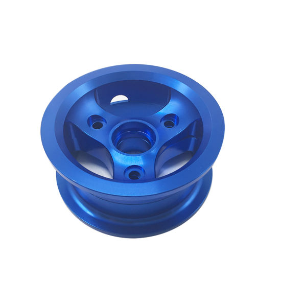 China Manufacturer Custom CNC Machining Anodized Blue Aluminum Wheel Hub for Electric Scooter pictures & photos