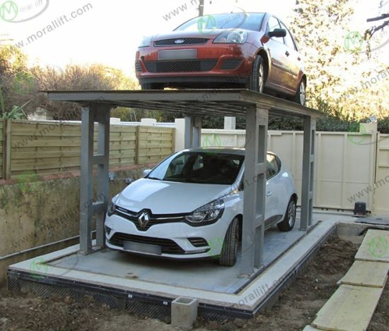 2 Layer Underground Car Parking Lift with Roof