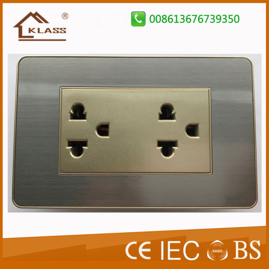 New Design Brushed Stainless Steel Double Gang Thailand Socket