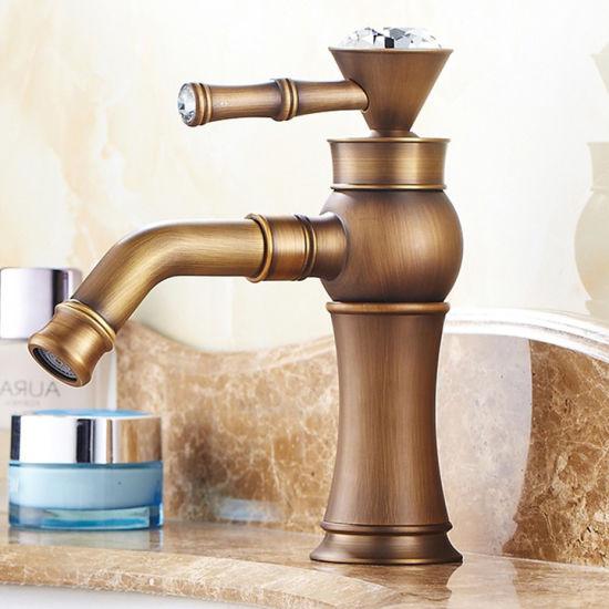 Flg Antique Basin Bathroom Vessel Faucet with Crystal Handle