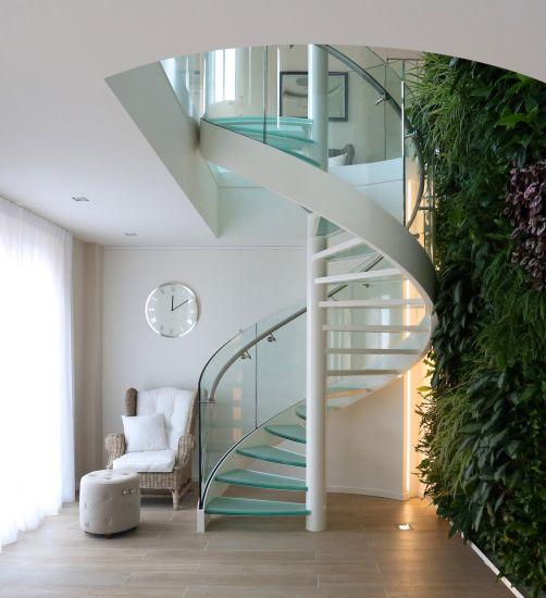 Interior Modern Design Stainless Steel Glass Spiral Staircase
