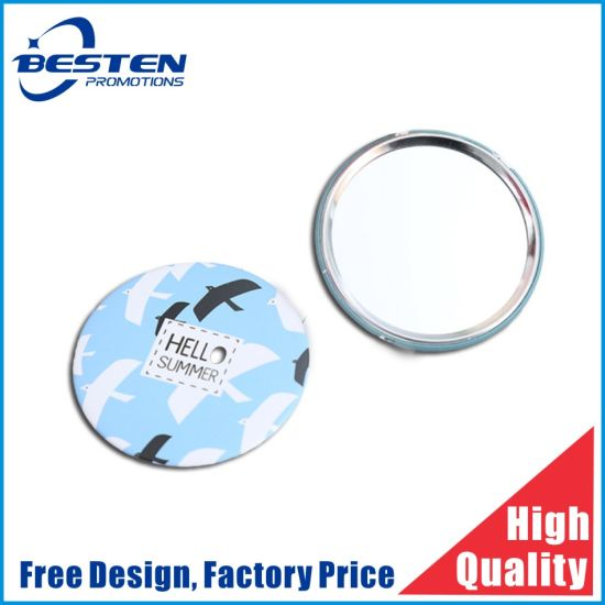 Custom Round Shape Tin Button Mirror