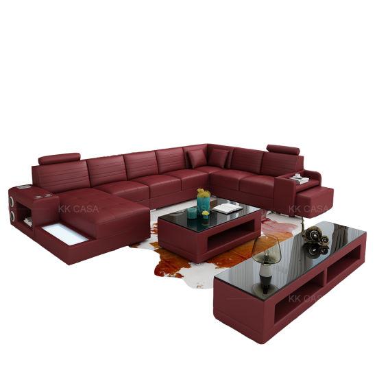 Factory Wholesale Sectional Genuine Leather Sofa, Modern European Style Washable Living Room Sofa Set