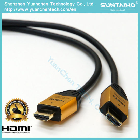 Nylon Jacket Aluminium Shell 24k Gold Plated HDMI Cable with Ethernet 2.0V pictures & photos