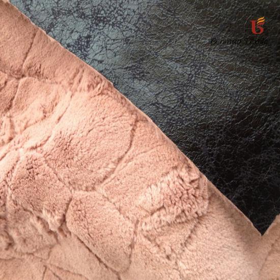 New Design Jacquard Suede Fabric Bonded Faux Fur Fabric