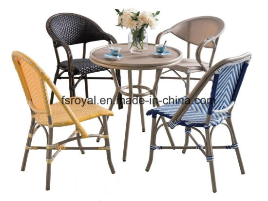 French Style Cafe Bamboo Look Rattan Chair Table Set Modern Garden Restaurant Outdoor Patio Furniture