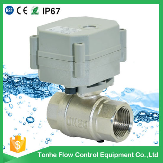 Factory Direct Sale 2 Way Electric Motorized Nickel Plated Brass Ball Valve for Small-Scale Sewage (T25-N2-A) pictures & photos