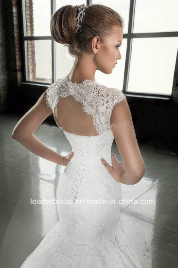 Lace Bridal Formal Gowns Cap Sleeves Mermaid Wedding Dresses G1750 pictures & photos