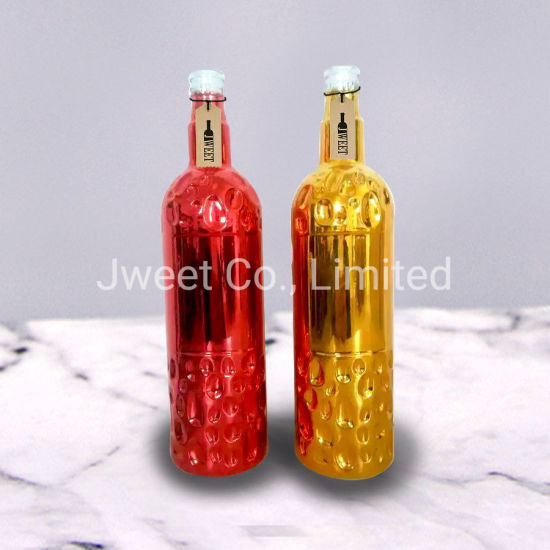 Empty Plating Colors Conventional 750ml Wine Gold Red Glass Bottles