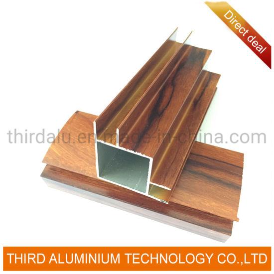 China Names of Extruded Aluminum for Modern Furniture Designs Wood Grain Kitchen Cabinet Door Furniture Aluminum Profile