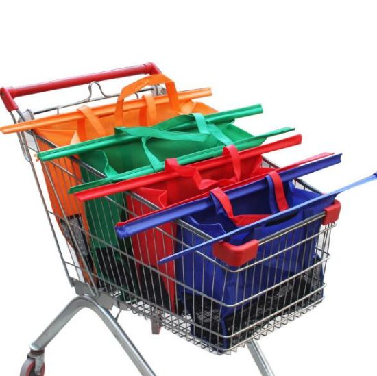 European and American Supermarkets Green Canvas Net Supermarket Cart Non-Woven Fabric Four-Piece Shopping Bag