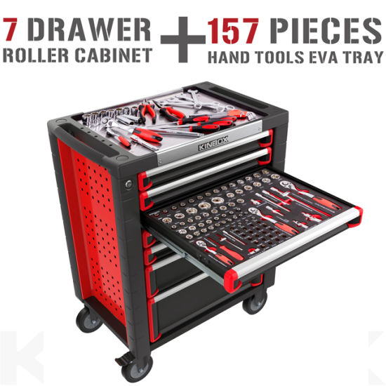 Kinbox 157 PCS Steel Garage Tools Trolley Set Tool Cabinet