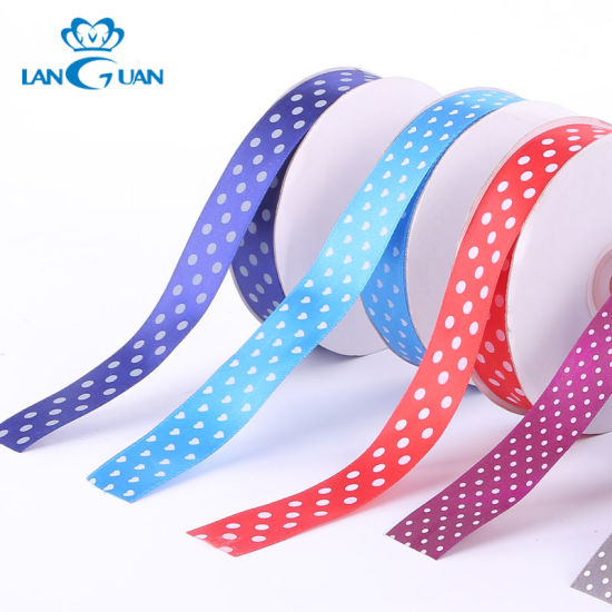 Polyester Single Face Printed DOT Ribbon for Party Supplies