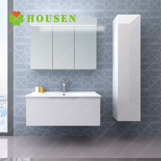 China Top Selling Wholesale New Design Paint Bathroom Cabinet Modern White Solid Wood Wall Mount Bathroom Vanity China Bathroom Vanities Bathroom Cabinets