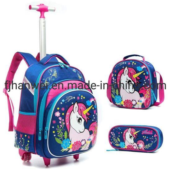 Fashion Good Quality Kids' Rolling Wheeled Trolley School Bag