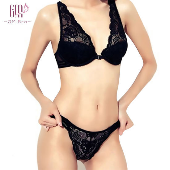 Back Wire Free Breathable Push up Bra and Panty Set Sexy Lingerie Bodysuit