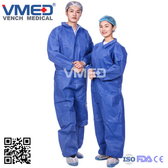 Chemical Microporous Impervious Waterproof SMS/Industry/Hospital/Lab/Safety Nonwoven Disposable Coverall, Nonwoven Disposable Coverall pictures & photos