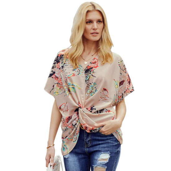 High Quality Women Casual Apricot Amaryllis Floral Twist Chiffon Short Sleeve Top