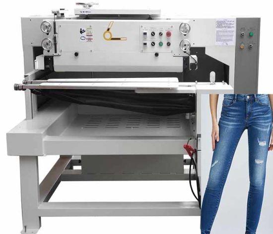 Fashion Middle Waist Washed White Jeans Damaging Machine Destroying Machine