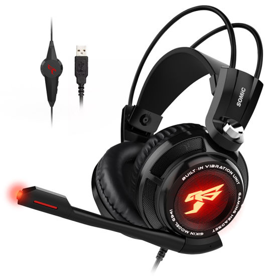 G941 7.1 Virtual Surround Sound USB Gaming Headphone with Vibrating Function Mic Voice Control