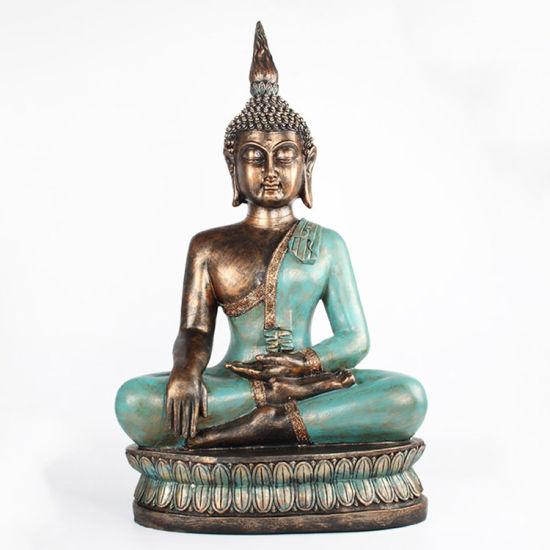 OEM Fengshui Home Decor Large Resin Meditation Buddha Statue on Futon