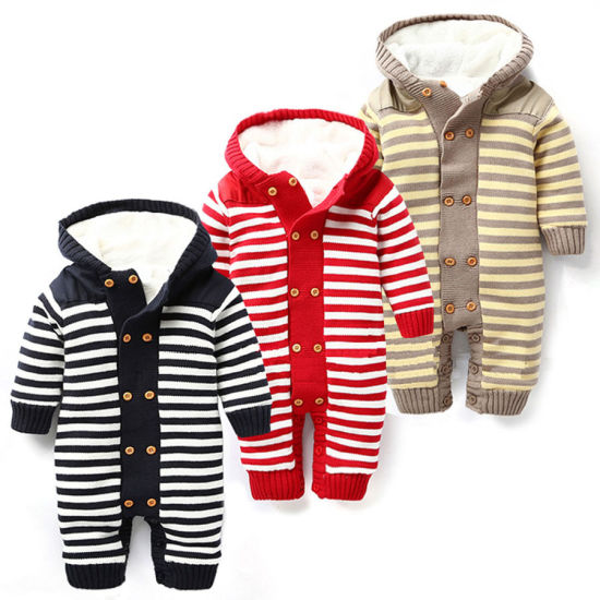 Striped Series Baby's Clothing Plush Hooded Jumpsuit
