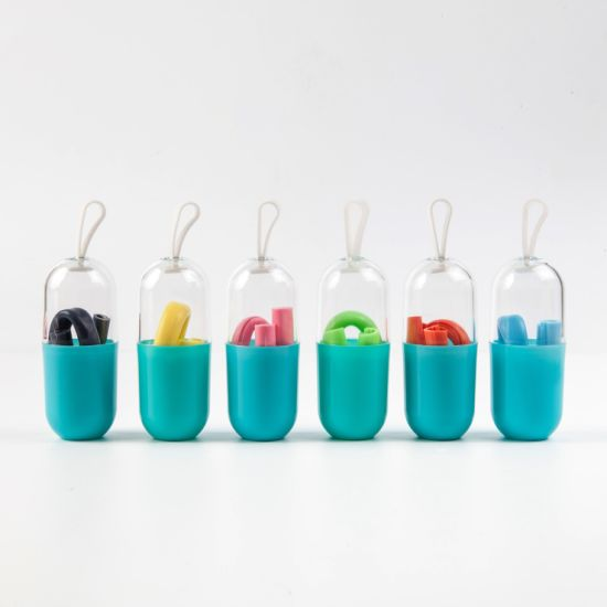 Food Grade Silicone Foldable Drinking Straws with Package