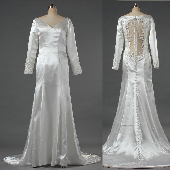 Ladies Muslim V Neck Satin Long Sleeve Bridal Gown W165