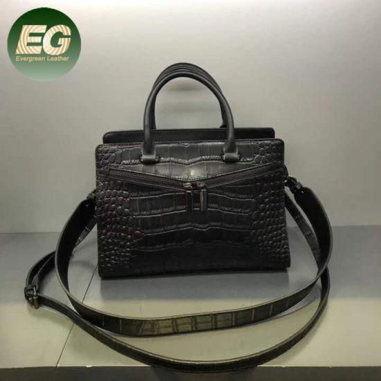 Crocodile Black Genuine Leather Tote Handbag Satchel Lady Bag Emg5468
