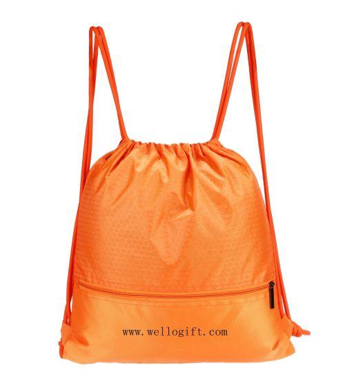 Custom Polyester Sport Gym Bag Drawstring Backpack Travel Bag 100% Water Resistent Wholesale