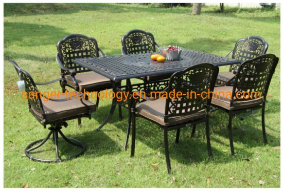 Fine Outdoor Garden 7 Pieces Cast Furniture Sets Includes 4 Standard Chairs And 2 Swivel Chairs And 1 Table Caraccident5 Cool Chair Designs And Ideas Caraccident5Info