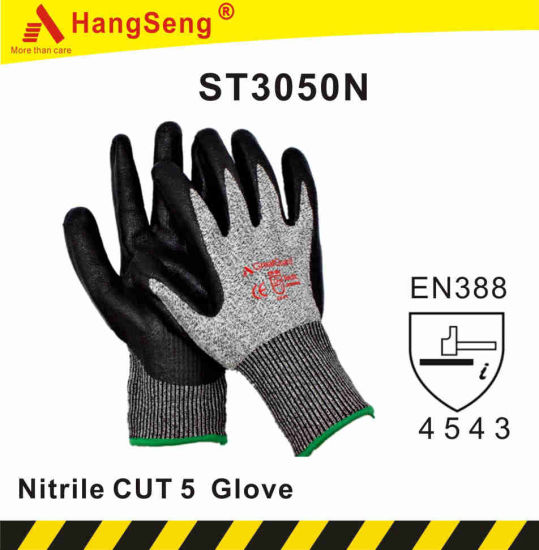 Cut Resistant 5 ANSI A5 Sandy Foam Nitrile Safety Work Glove pictures & photos